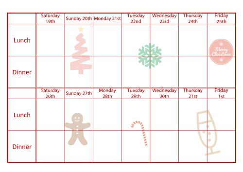 christmas food planner